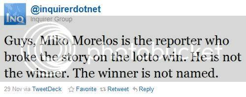 Inquirer Lotto Tweet Retraction