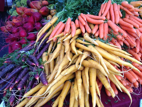 beets and many-colored carrots