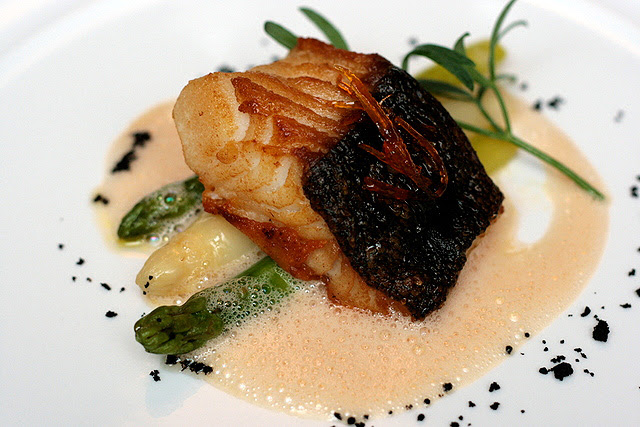 Black Cod Filet with Asparagus and Sicilian Blood Orange Sauce