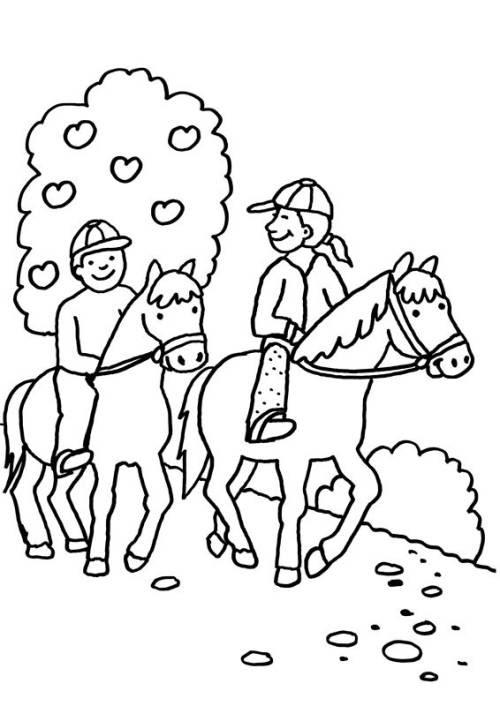 Kostenlose Malvorlage Pferde: Zwei Pferde beim Ausritt zum ...