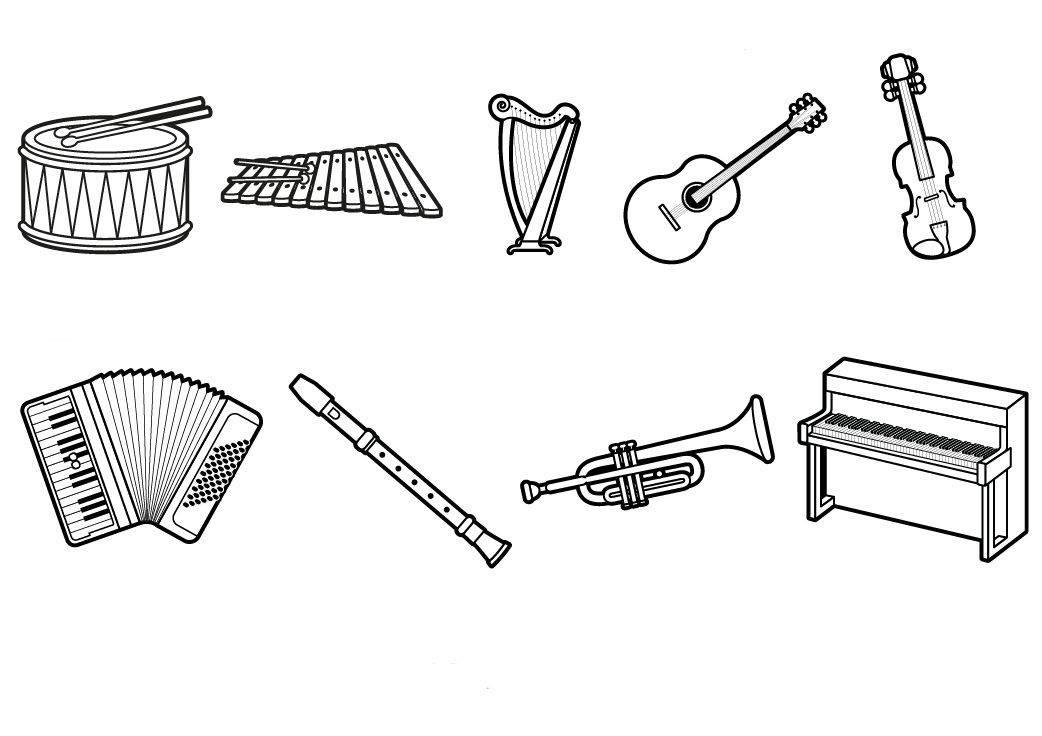 malvorlagen instrumente in english  malbild