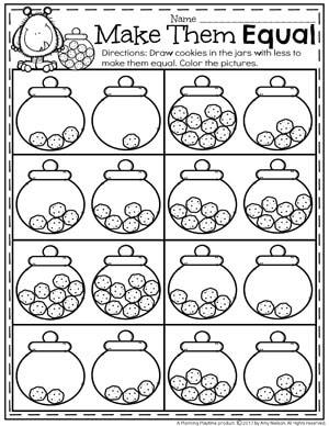 Make them Equal Comparing Numbers Worksheets for kindergarten math