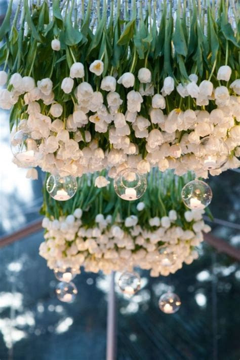 Tulips Hanging Upside Down   Wedding Reception   Color
