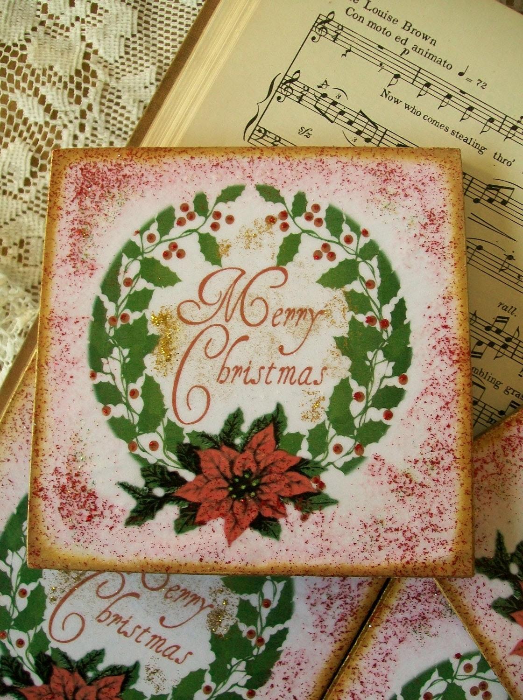 Coasters Set of 4 Christmas Coasters Holiday Gift Coasters