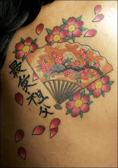 Marvelous Asian Flowers And Fan Tattoo Design For Young Women