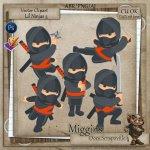 CU VectorStyle Lil Ninjas Series Clipart 3