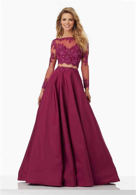 Two Piece Prom Dress with Long Sleeved Lace   Style 99135