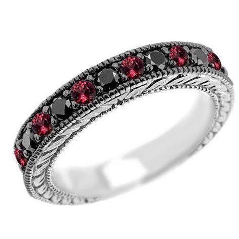 Vintage Style Black Diamond & Red Ruby Wedding Ring Band