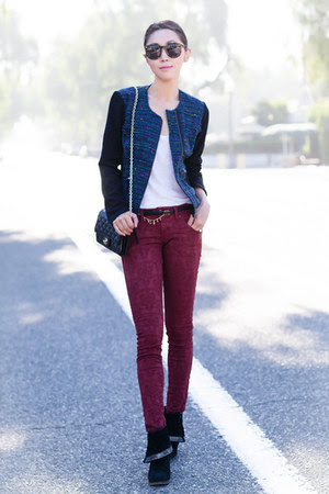 black boots - free people jeans - brick red jeans - navy blazer