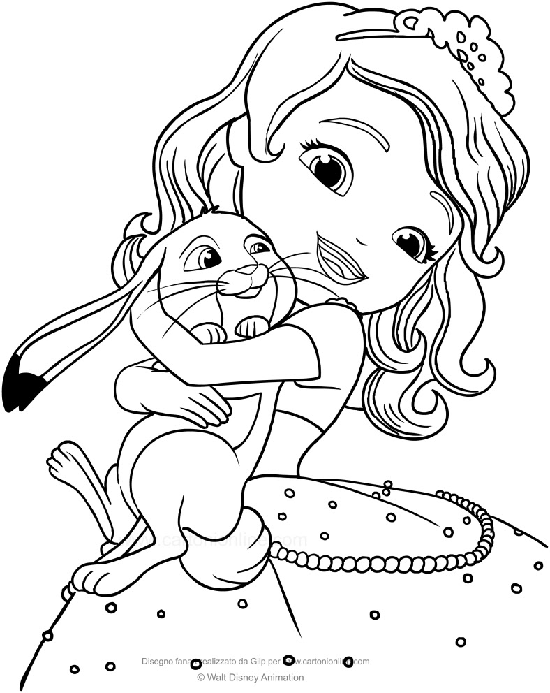 Dibujo De La Princesa Sofia Y Clover El Conejo Para Colorear