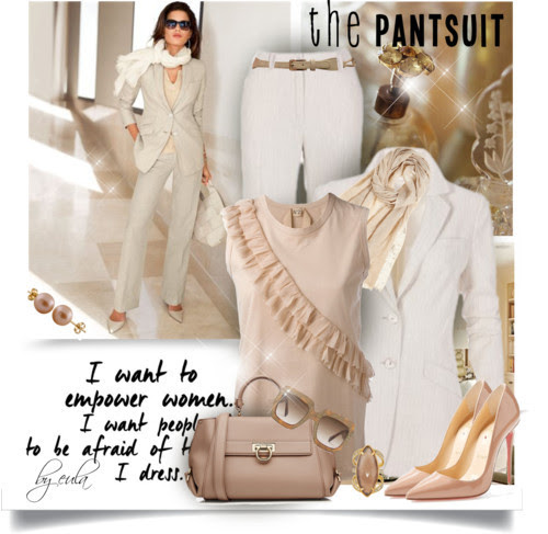 The Pantsuit by eula-eldridge-tolliver featuring a leather tote purse