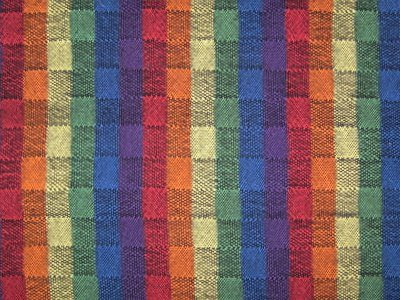 Multiple tabby weave with rainbow warp & black weft.