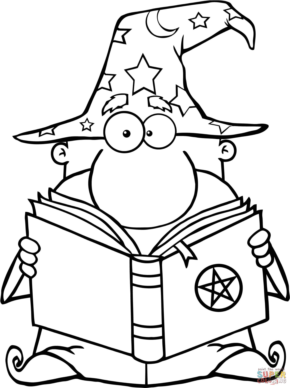 Coloriage Magicien Drôle Tenant Un Livre Magique Coloriages à