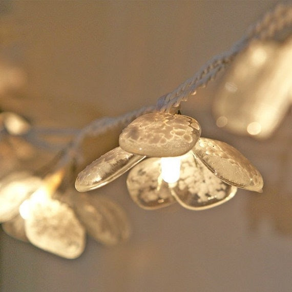 Petal Fairy Lights - glass with white glass dust, large