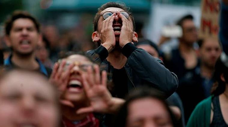 Students protest the murder of three film students who have become emblematic of Mexico's missing, in Mexico City. (AP)