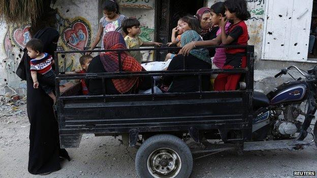 Palestinians prepare to flee Gaza City (7 August 2014)