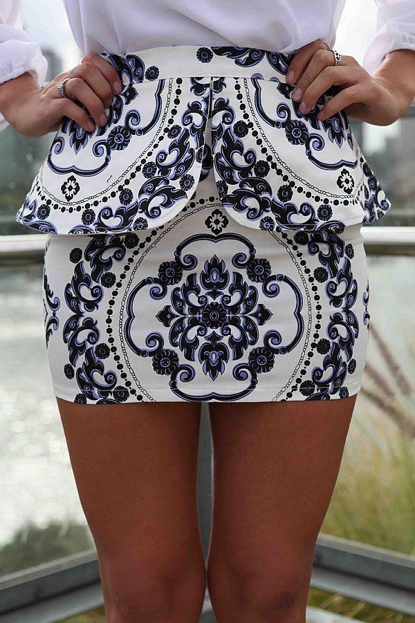 china white blue printed peplum skirt