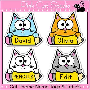 Cat Theme Name Tags and Labels | Cat names, Classroom and Door decs