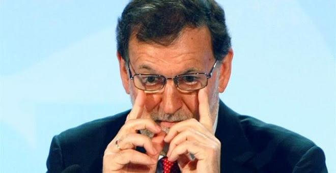 El presidente del Gobierno en funciones, Mariano Rajoy, durante la clausura de una conferencia con todos los portavoces parlamentarios de su partido en España y que ha tenido lugar en Alicante. EFE/Morell