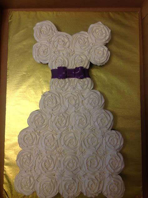 Bridal Shower Cupcake Cake w/ Purple Ribbon Sash   Yelp