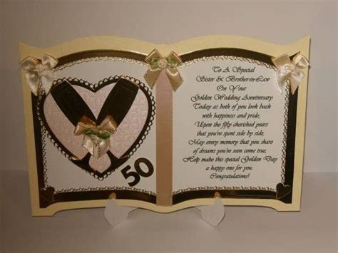 Sister and Brother in Law Golden Wedding Anniversary Card