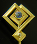 Art Deco sapphire and diamond stickpin. (J9277)