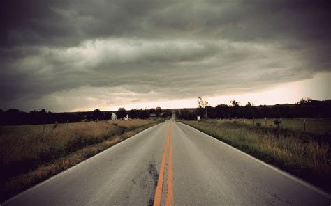 stormy clouds road fields wallpapers stormy clouds road