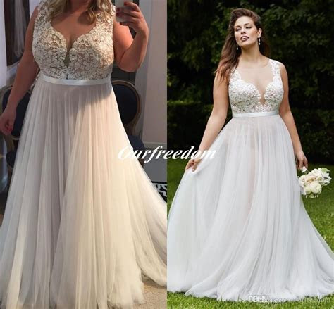 2016 Vintage Plus Size Illusion Top Wedding Dresses Sheer