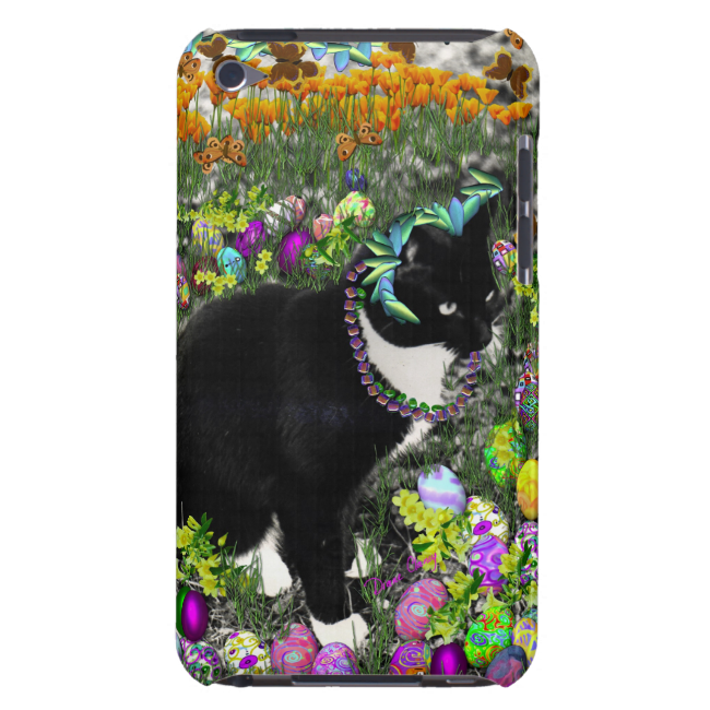 Freckles, Tux Cat, in the Hunt for Easter Eggs Barely There iPod Covers
