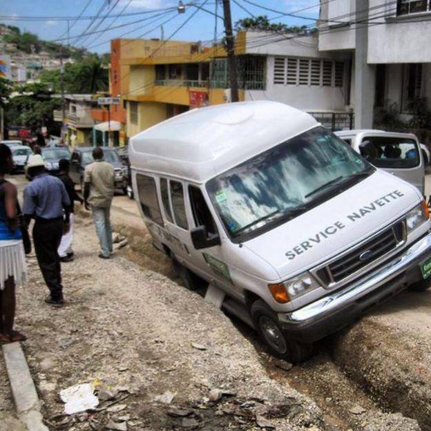 Accidente de auto en Haití