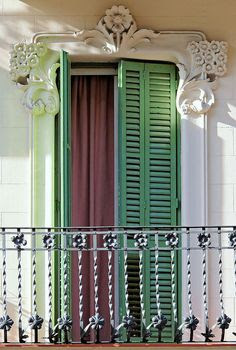 New Orleans French Quarter Shutters & iron work.  Beautiufl plaster detail.