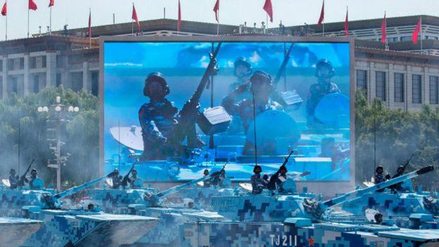 Parte del desfile militar chino