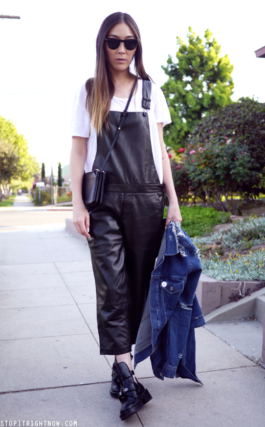 LE FASHION BLOG BLACK LEATHER OVERALLS DUNGAREES JAYNE MIN STOP IT RIGHT NOW LINEN WHITE TEE TSHIRT ZARA OVERALLS BALENCIAGA CUT OUT ANKLE BOOT RIPPED TORN ACNE JEAN DENIM JACKET CELINE TRIO CROSSOVER BODY BAG RAY BAN SUNGLASSES