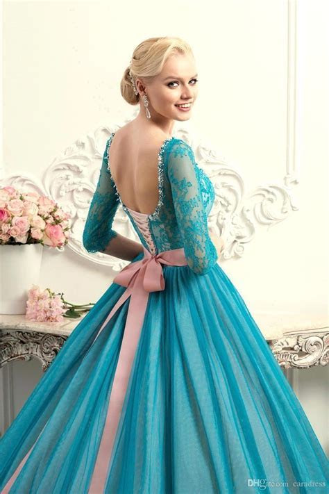 New Elegant Teal Lace Ball Gown Quinceanera Dresses Lace