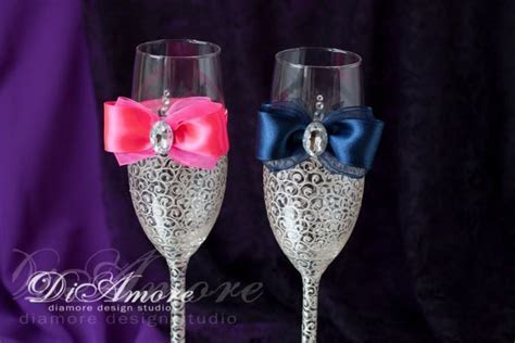 Navy Blue Hot Pink Wedding Champagne Flutes, Toasting