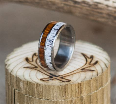 IRONWOOD & ELK ANTLER ON TITANIUM WEDDING BAND (available