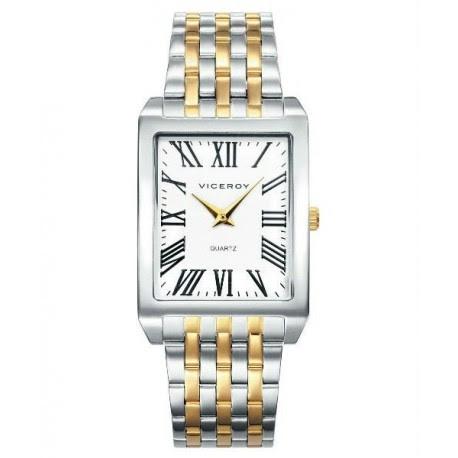 Reloj Pulsera Para Caballero Rectangular Con Numeros Romanos De