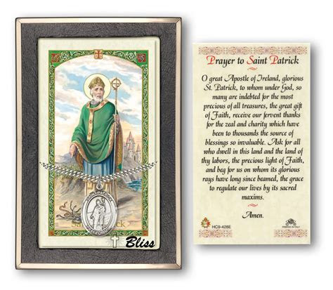St Patrick Holy Card with Sterling Silver Medal Pendant