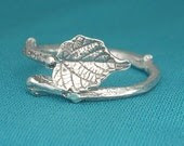 Grape Leaf Ring Silver Natural Bypass Adjustable