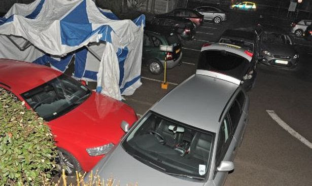 Culcheth shooting: The red car occupied by the men with a bullet hole in the windscreen