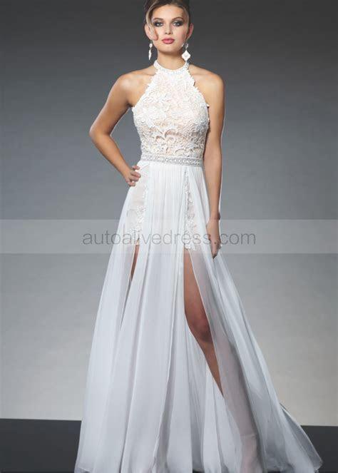 Sexy Halter Ivory Lace Chiffon Pink Lining Wedding Dress