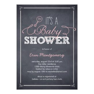 Stylishly Chalked Baby Shower Invitations - Pink