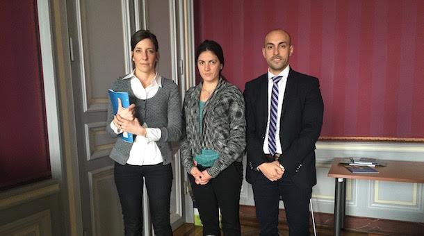 Brenda Vukovic de ACNUDH con Rosa María Payá y Javier El-Hage en el Palacio Wilson