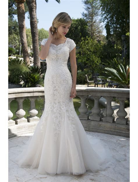 Vintage Champagne Lace Tulle Mermaid Modest Wedding