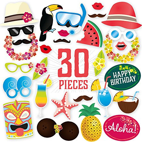 Hawaiian Themed Photo Booth Props Kit Diy Luau Party Supplies For Ki