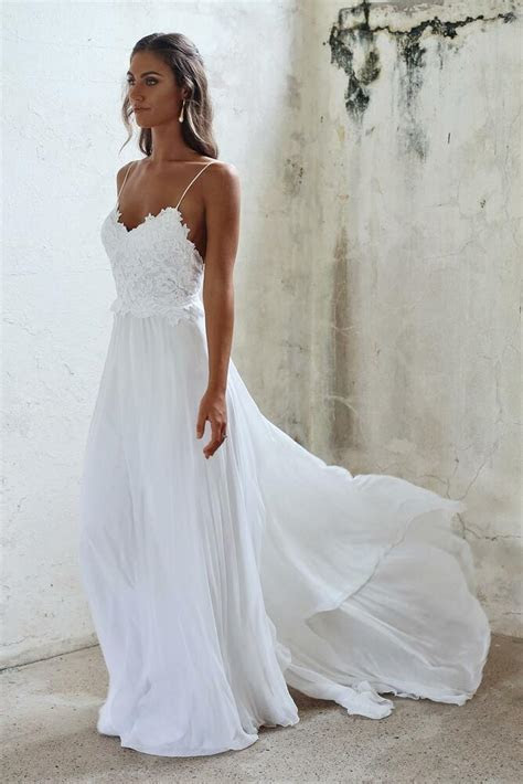 white bridal gowns  backless chiffon wedding dresses