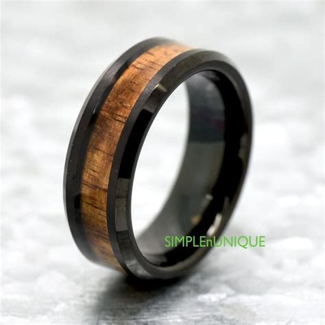 Unique Tungsten Wedding Band Hawaiian Koa Wood Inlay