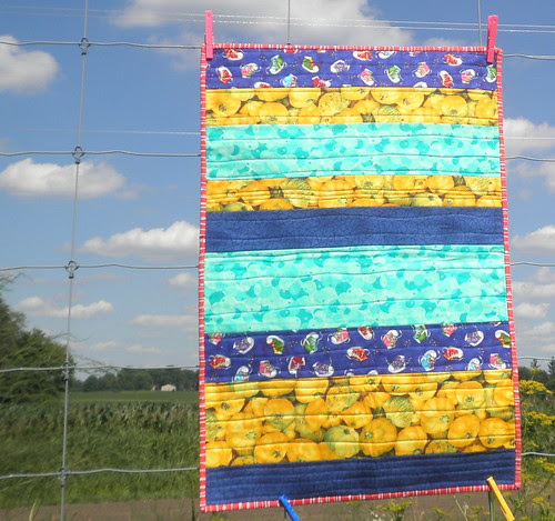 Blue, Turquoise and Yellow Strip Quilt
