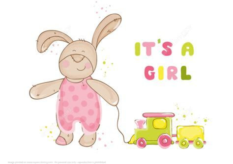 """""""It's a Girl"""" Baby Shower Card   Free Printable Papercraft"""