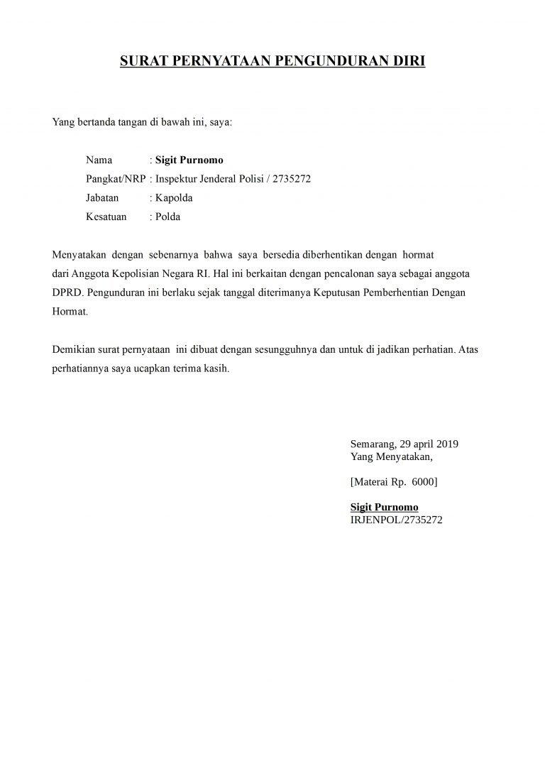 contoh surat pengunduran diri anggota polisi dan tni